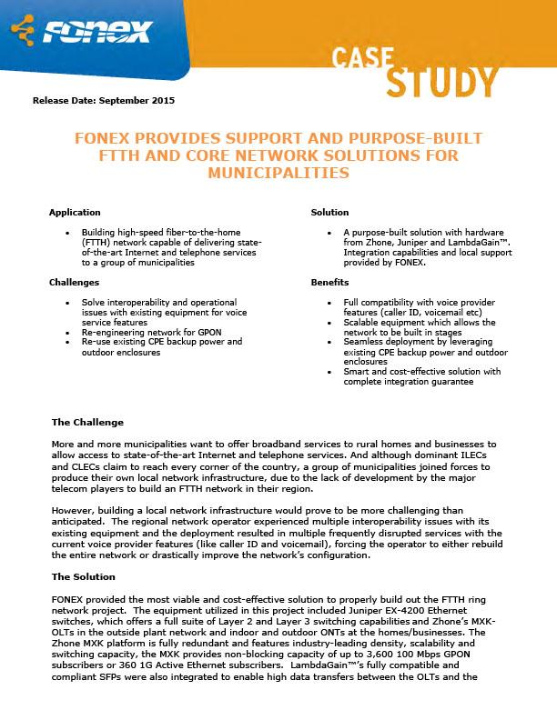 FONEX FTTH Case Study
