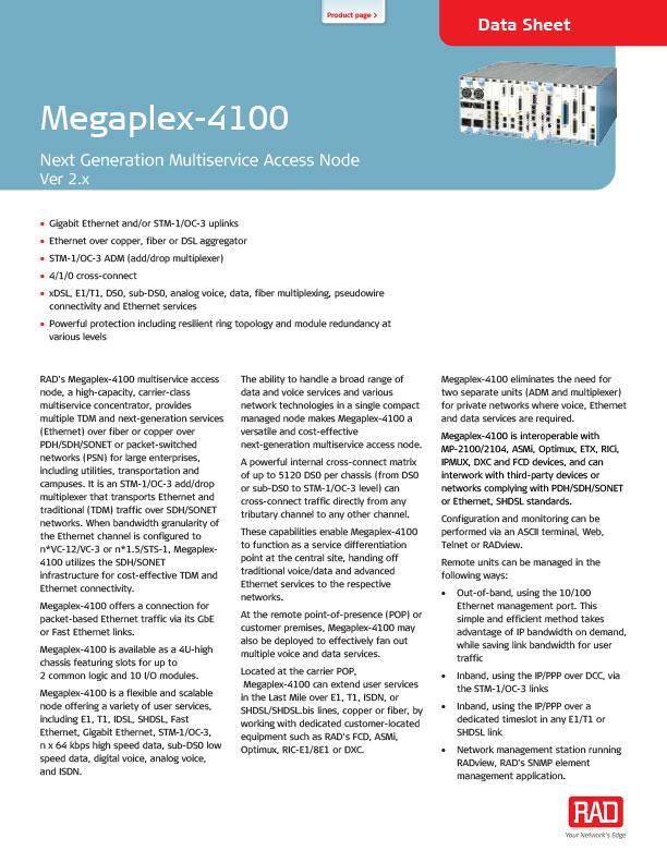 Megaplex 4100 datasheet